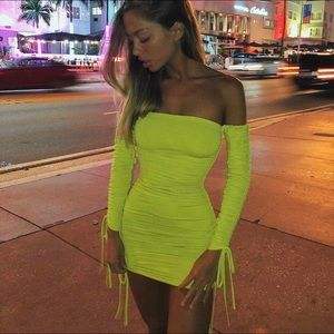 Oh Polly neon green ruched long sleeve mini dress